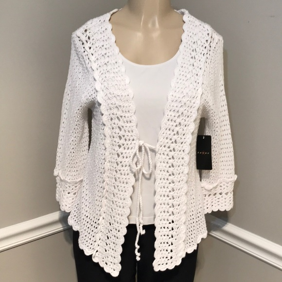 Fever Sweaters Nwt White Crochet Cardigan Sweater Size S Poshmark